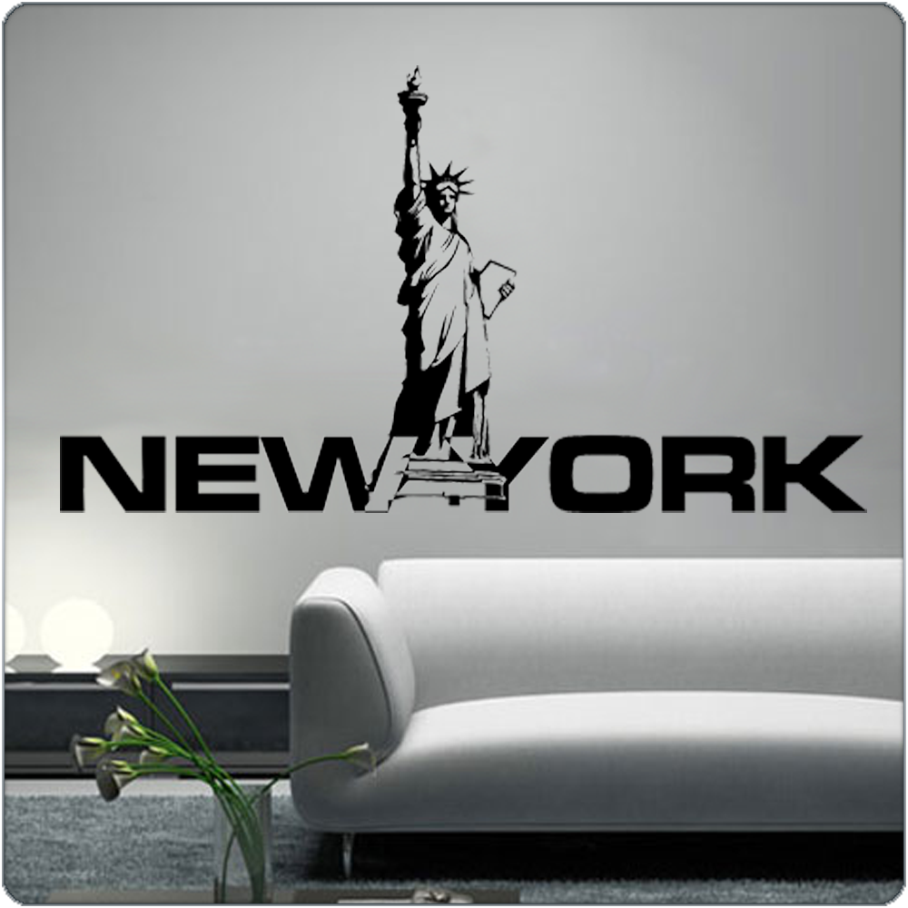 new york wandtattoo freiheitsstatue wandbild aufkleber. Black Bedroom Furniture Sets. Home Design Ideas